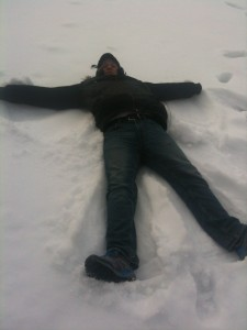 Higgins makes a snow angel!