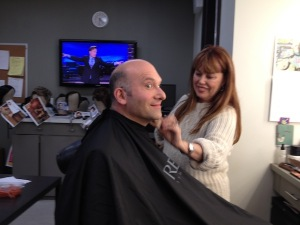 Jason in the makeup chair; Conan on TV.