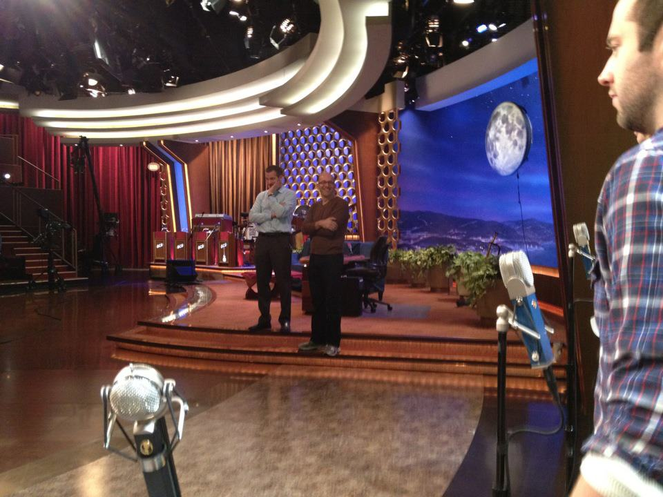 Jason watches the tech rehearsal from the CONAN stage